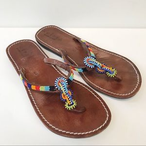 ANTHROPOLOGIE AGIPSA Leather Beaded Flip Flops-39